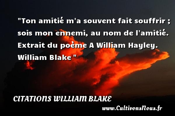 Citations William Blake - Citation Amitié - Ton amitié m a souvent fait souffrir ; sois mon ennemi, au nom de l amitié.  Extrait du poème A William Hayley. William Blake   Une citation sur l amitié CITATIONS WILLIAM BLAKE
