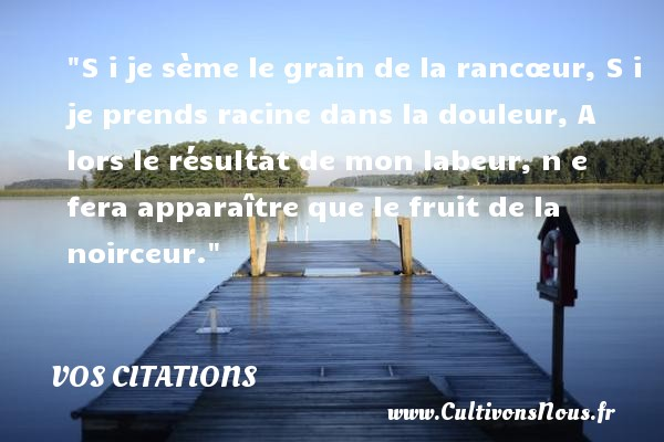 Vos citations - Citation fruit - Citation nature - S i je sème le grain de la rancœur,  S i je prends racine dans la douleur,  A lors le résultat de mon labeur,  n e fera apparaître que le fruit de la noirceur. VOS CITATIONS