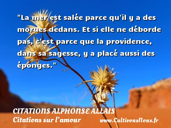 La mer est salée parce qu il y a des morues dedans. Et si elle ne déborde pas, c est parce que la providence, dans sa sagesse, y a placé aussi des éponges.  Une citations d  Alphonse Allais CITATIONS ALPHONSE ALLAIS - Citation providence - Citations sur l'amour