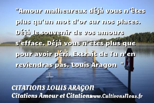 Amour Malheureux Déjà Vous N êtes Plus Citations Louis