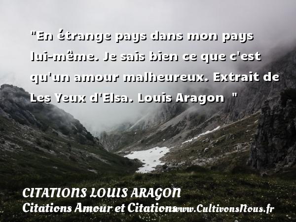 Citations Louis Aragon - Citations Amour et Citations - En étrange pays dans mon pays lui-même. Je sais bien ce que c est qu un amour malheureux.  Extrait de Les Yeux d Elsa. Louis Aragon   CITATIONS LOUIS ARAGON