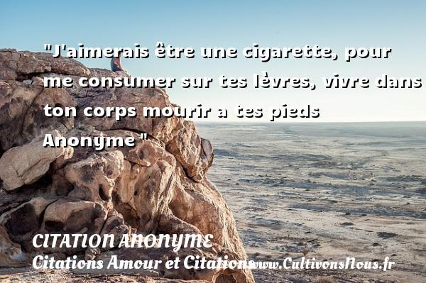 Citation anonyme - Citations Amour et Citations - J aimerais être une cigarette, pour me consumer sur tes lèvres, vivre dans ton corps mourir a tes pieds   Anonyme CITATION ANONYME