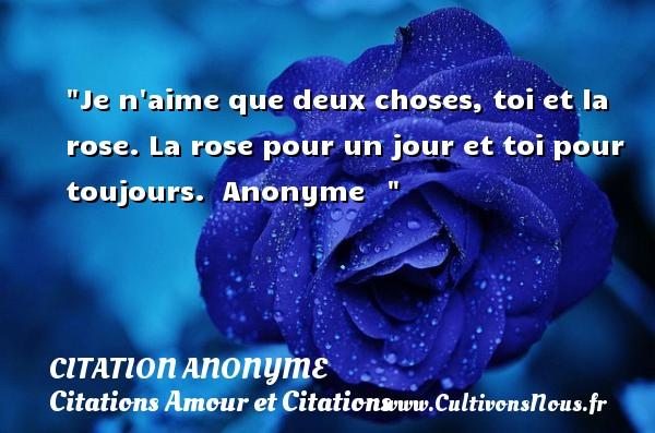 Citation anonyme - Citations Amour et Citations - Je n aime que deux choses, toi et la rose. La rose pour un jour et toi pour toujours.   Anonyme   CITATION ANONYME