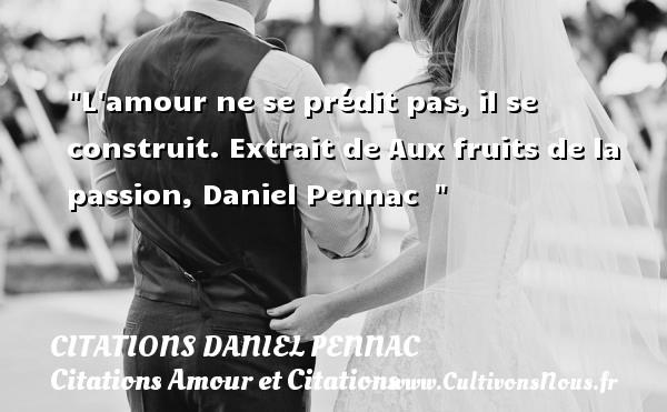 L amour ne se prédit pas, il se construit.  Extrait de Aux fruits de la passion, Daniel Pennac   CITATIONS DANIEL PENNAC - Citation fruit - Citations Amour et Citations
