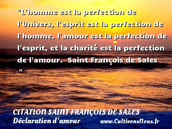 L homme est la perfection de l Univers, l esprit est la perfection de l homme, l amour est la perfection de l esprit, et la charité est la perfection de l amour.   Saint François de Sales        CITATION SAINT FRANÇOIS DE SALES - Citation Saint François de Sales - Citation perfection