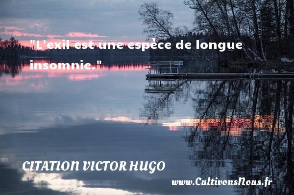 L exil est une espèce de longue insomnie.   Une citation de Victor Hugo CITATION VICTOR HUGO - Citation insomnie - Citations homme