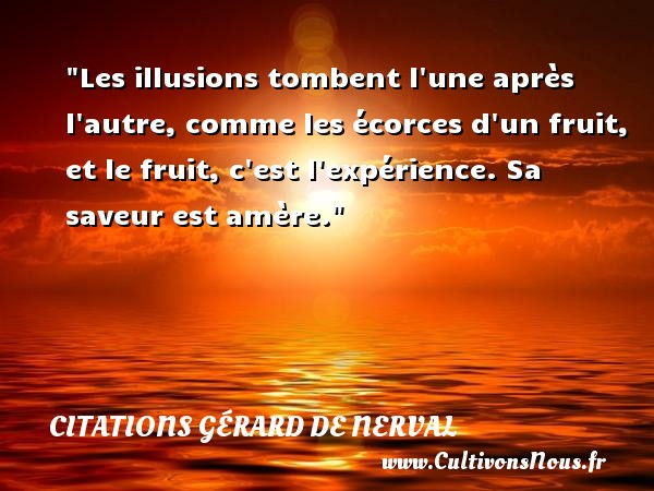 Les illusions tombent l une après l autre, comme les écorces d un fruit, et le fruit, c est l expérience. Sa saveur est amère.   Une citation de Gérard de Nerval        CITATIONS GÉRARD DE NERVAL - Citations Gérard de Nerval - Citation fruit - Citations homme