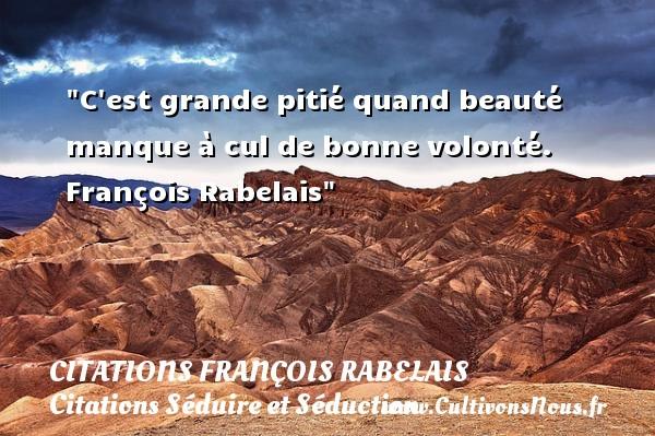 Citations François Rabelais - Citations Séduire et Séduction - C est grande pitié quand beauté manque à cul de bonne volonté.   François Rabelais   Une citation sur séduire et séduction   CITATIONS FRANÇOIS RABELAIS