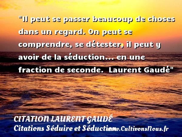 Il peut se passer beaucoup de choses dans un regard. On peut se comprendre, se détester, il peut y avoir de la séduction... en une fraction de seconde.   Laurent Gaudé   Une citation sur séduire et séduction    CITATION LAURENT GAUDÉ - Citation Laurent Gaudé - Citations Séduire et Séduction