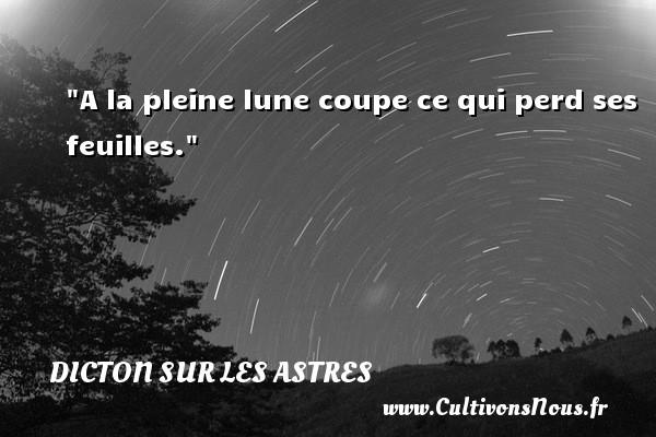 Dicton sur les astres - A la pleine lune coupe ce qui perd ses feuilles. Un dicton sur les astres DICTON SUR LES ASTRES