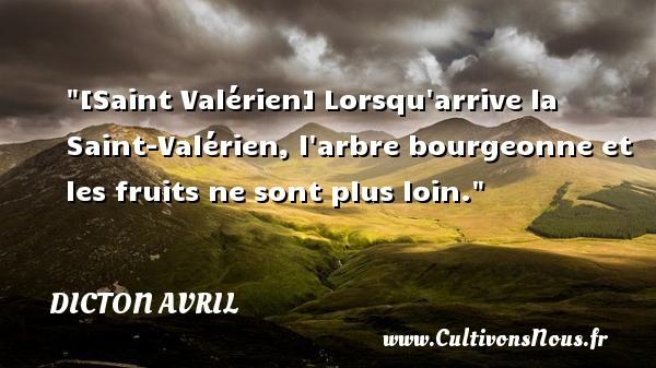 Dicton avril - [Saint Valérien] Lorsqu arrive la Saint-Valérien, l arbre bourgeonne et les fruits ne sont plus loin. Un dicton avril DICTON AVRIL