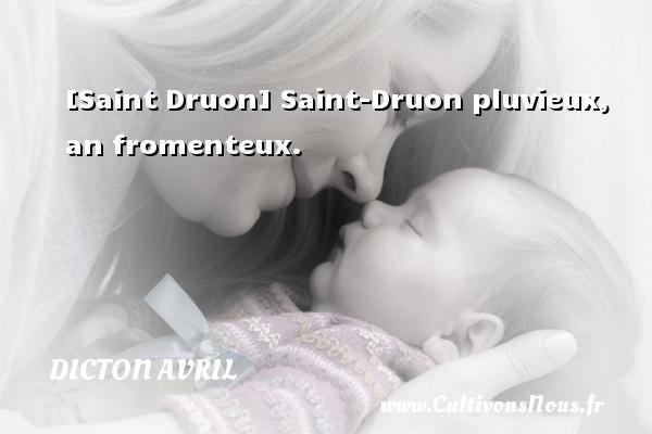 Dicton avril - [Saint Druon] Saint-Druon pluvieux, an fromenteux. Un dicton avril DICTON AVRIL