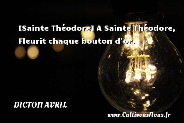 Dicton avril - [Sainte Théodore] A Sainte Théodore, Fleurit chaque bouton d or. Un dicton avril DICTON AVRIL