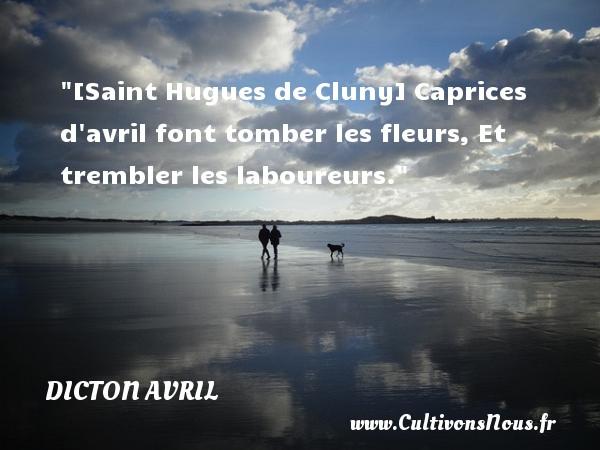 Dicton avril - [Saint Hugues de Cluny] Caprices d avril font tomber les fleurs, Et trembler les laboureurs. Un dicton avril DICTON AVRIL