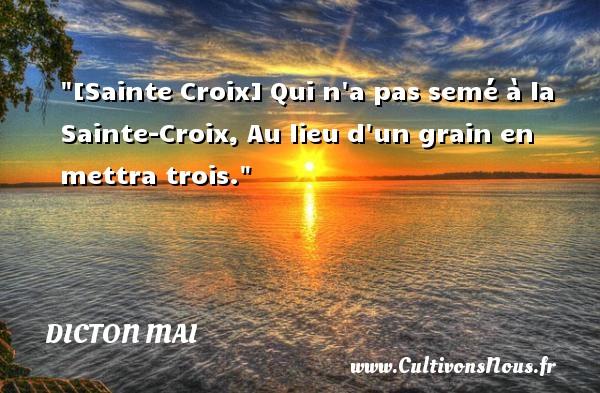 [Sainte Croix] Qui n a pas semé à la Sainte-Croix, Au lieu d un grain en mettra trois. Un dicton mai
