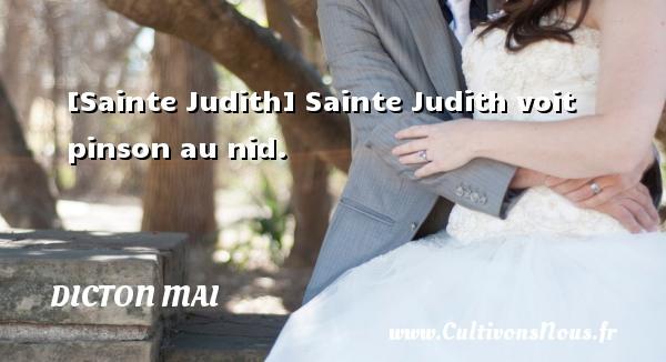 Dicton mai - [Sainte Judith] Sainte Judith voit pinson au nid. Un dicton mai DICTON MAI