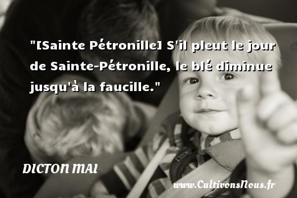 Dicton mai - [Sainte Pétronille] S il pleut le jour de Sainte-Pétronille, le blé diminue jusqu à la faucille. Un dicton mai DICTON MAI