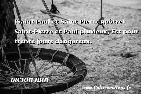 [Saint Paul et Saint Pierre Apôtre] Saint-Pierre et Paul pluvieux, Est pour trente jours dangereux. Un dicton juin