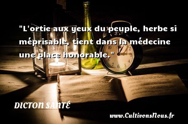 L ortie aux yeux du peuple, herbe si méprisable, tient dans la médecine une place honorable. Un dicton santé DICTON SANTÉ