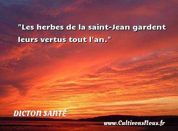 Les herbes de la saint-Jean gardent leurs vertus tout l an. Un dicton santé DICTON SANTÉ