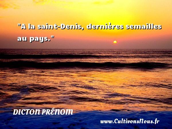 A la saint-Denis, dernières semailles au pays. Un dicton prénom DICTON PRÉNOM