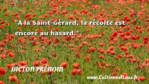 A la Saint-Gérard, la récolte est encore au hasard. Un dicton prénom DICTON PRÉNOM