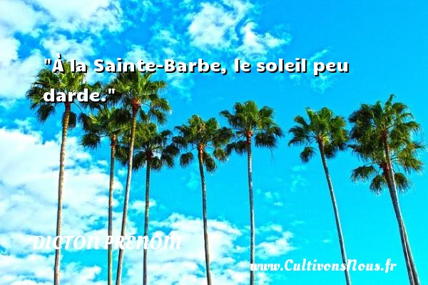 À la Sainte-Barbe, le soleil peu darde. Un dicton prénom DICTON PRÉNOM