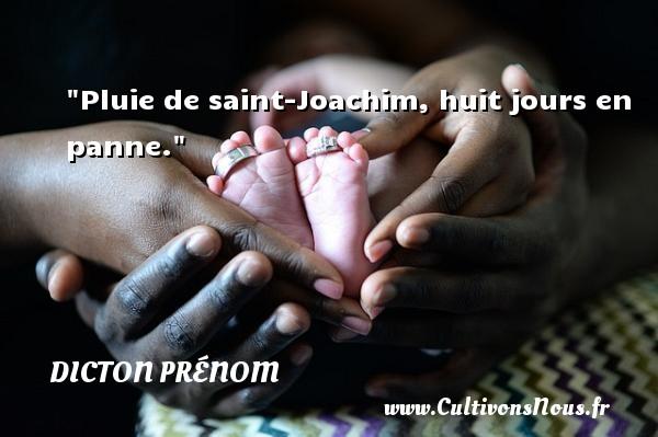 Pluie de saint-Joachim, huit jours en panne. Un dicton prénom DICTON PRÉNOM