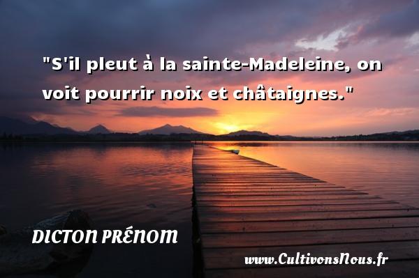 S il pleut à la sainte-Madeleine, on voit pourrir noix et châtaignes. Un dicton prénom DICTON PRÉNOM