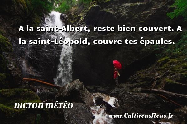 A la saint-Albert, reste bien couvert. A la saint-Léopold, couvre tes épaules. Un dicton météo DICTON MÉTÉO