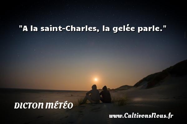 Dicton météo - A la saint-Charles, la gelée parle. Un dicton météo DICTON MÉTÉO