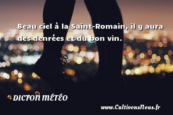 Beau ciel à la Saint-Romain, il y aura des denrées et du bon vin. Un dicton météo DICTON MÉTÉO