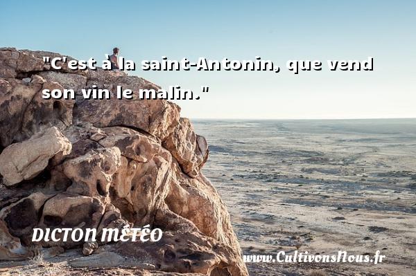 C est à la saint-Antonin, que vend son vin le malin. Un dicton météo DICTON MÉTÉO