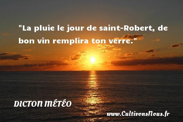 Dicton météo - La pluie le jour de saint-Robert, de bon vin remplira ton verre. Un dicton météo DICTON MÉTÉO