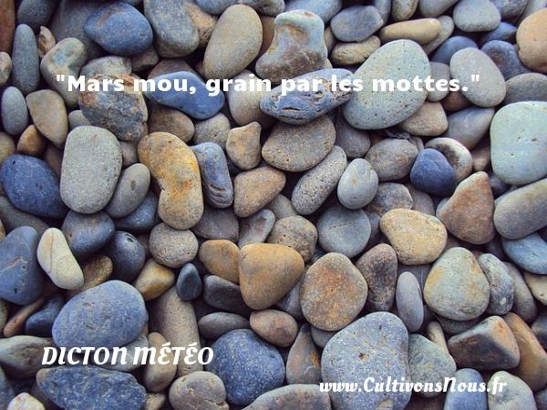 Mars mou, grain par les mottes. Un dicton météo DICTON MÉTÉO
