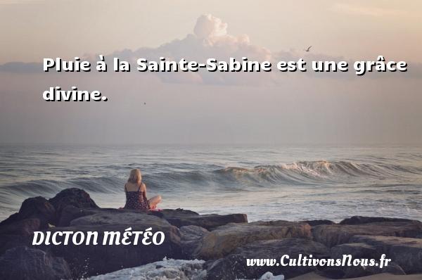 Dicton météo - Pluie à la Sainte-Sabine est une grâce divine. Un dicton météo DICTON MÉTÉO