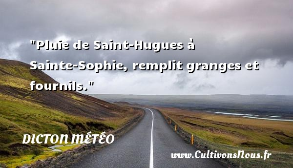 Dicton météo - Pluie de Saint-Hugues à Sainte-Sophie, remplit granges et fournils. Un dicton météo DICTON MÉTÉO