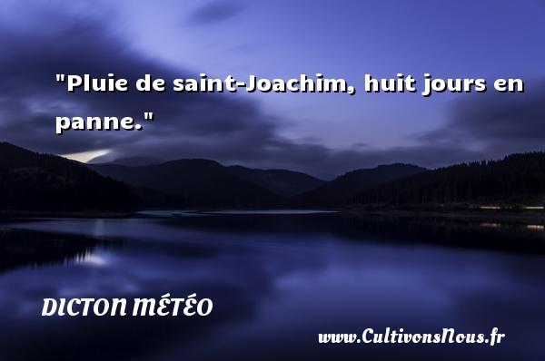 Pluie de saint-Joachim, huit jours en panne. Un dicton météo DICTON MÉTÉO