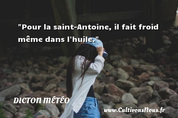 Dicton météo - Pour la saint-Antoine, il fait froid même dans l huile. Un dicton météo DICTON MÉTÉO