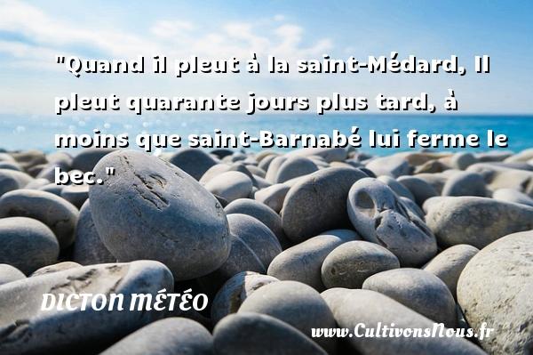 Quand il pleut à la saint-Médard, Il pleut quarante jours plus tard, à moins que saint-Barnabé lui ferme le bec. Un dicton météo DICTON MÉTÉO
