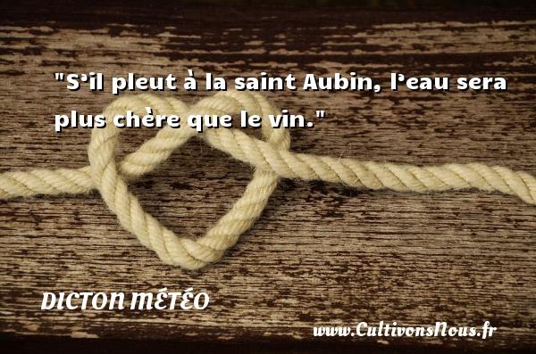 Dicton météo - S'il pleut à la saint Aubin, l'eau sera plus chère que le vin. Un dicton météo DICTON MÉTÉO