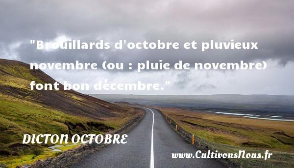 Brouillards d octobre et pluvieux novembre (ou : pluie de novembre) font bon décembre. Un dicton octobre