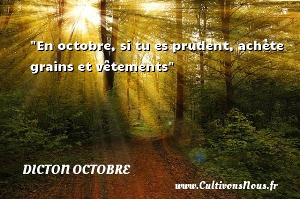 En octobre, si tu es prudent, achète grains et vêtements Un dicton octobre