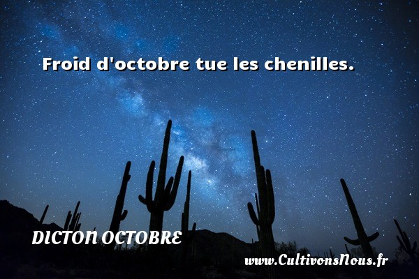 Dicton octobre - Froid d octobre tue les chenilles. Un dicton octobre DICTON OCTOBRE