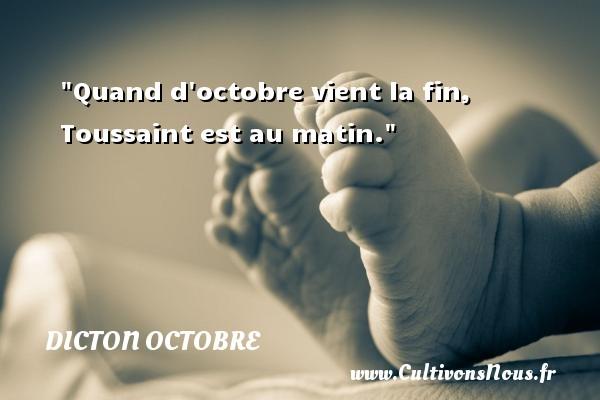 Quand d octobre vient la fin, Toussaint est au matin. Un dicton octobre