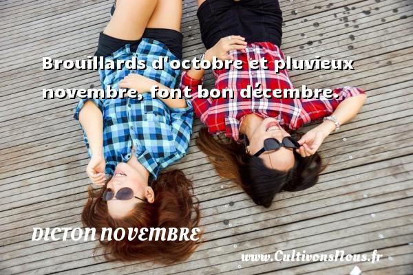 Dicton novembre - Brouillards d octobre et pluvieux novembre, font bon décembre. Un dicton novembre DICTON NOVEMBRE