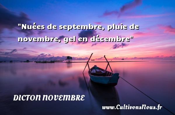 Dicton novembre - Nuées de septembre, pluie de novembre, gel en décembre Un dicton novembre DICTON NOVEMBRE
