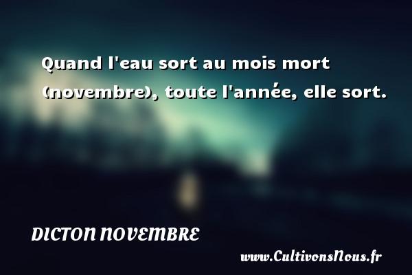 Dicton novembre - Quand l eau sort au mois mort (novembre), toute l année, elle sort. Un dicton novembre DICTON NOVEMBRE