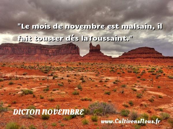 Dicton novembre - Le mois de novembre est malsain, il fait tousser dés laToussaint. Un dicton novembre DICTON NOVEMBRE