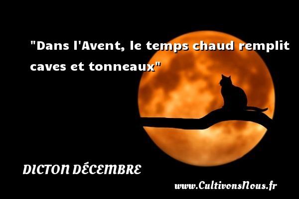 Dans l Avent, le temps chaud remplit caves et tonneaux Un dicton décembre DICTON DÉCEMBRE